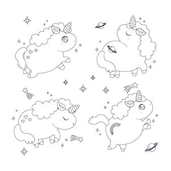 Lindo colorante para niños con colección de unicornio