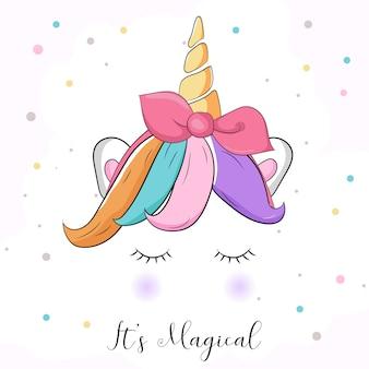 Lindo colorido gráfico de unicornio