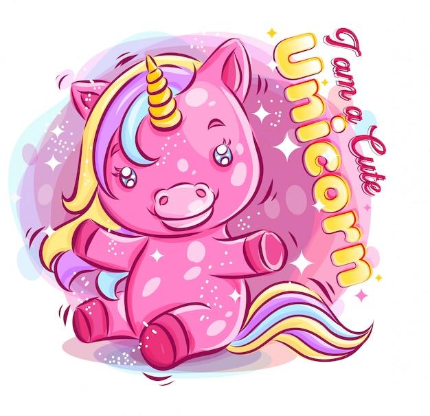 Lindo colorido unicornio jugando con la ilustración de dibujos animados happy smile