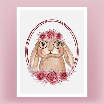 Lindo conejito con acuarela de guirnalda de flores