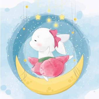 Lindo conejito bailando en la luna