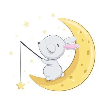 Lindo conejito bebé está durmiendo en la luna
