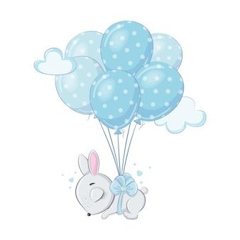Lindo conejito bebé con globos está durmiendo
