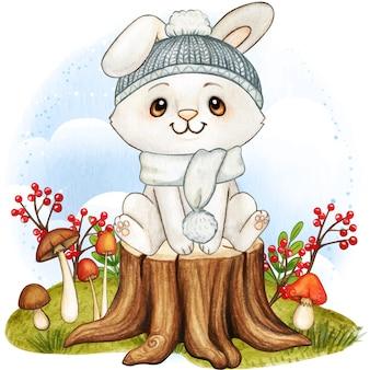 Lindo conejito blanco acuarela con gorro de punto y bufanda temporada de otoño