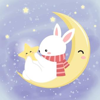 Lindo conejito blanco jugando con la estrella en el cielo