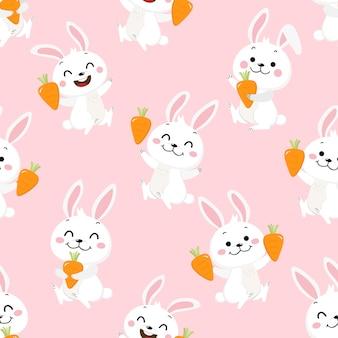 Lindo conejito blanco y zanahoria de patrones sin fisuras.