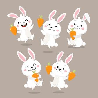 Lindo conejito blanco con zanahoria.