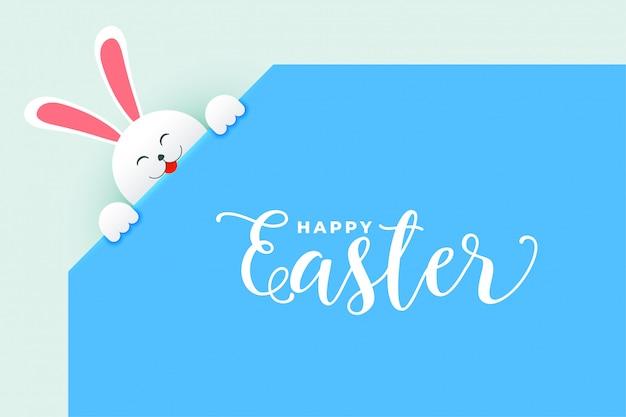 Lindo conejito conejo asomando cartel del día de pascua