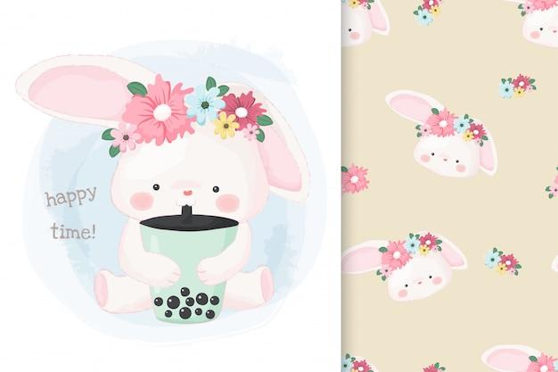 Lindo conejito dibujado a mano bebiendo té con leche burbuja con patrón