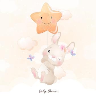 Lindo conejito doodle con ilustración de estrella