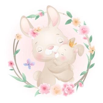 Lindo conejito doodle con ilustración floral