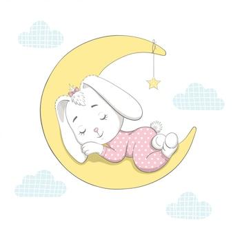 Lindo conejito durmiendo en la luna. ilustración vectorial de dibujos animados.