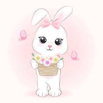 Lindo conejito y flores en canasta con ilustración de dibujado a mano de dibujos animados de mariposa