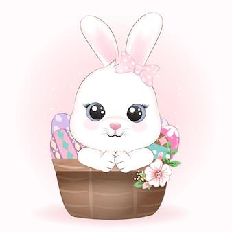 Lindo conejito y huevos en la ilustración de la cesta