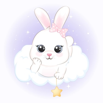 Lindo conejito en la ilustración de animales de nube