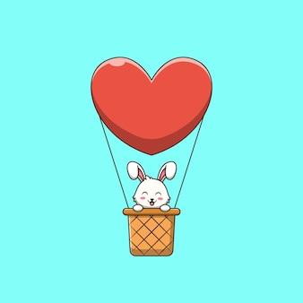 Lindo conejito en ilustración de dibujos animados de globo de aire caliente