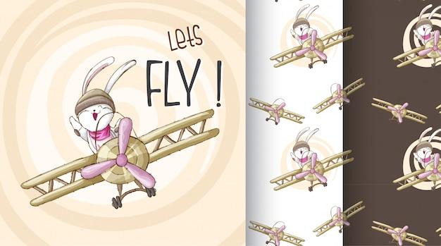Lindo conejito en la ilustración de patrón de avión