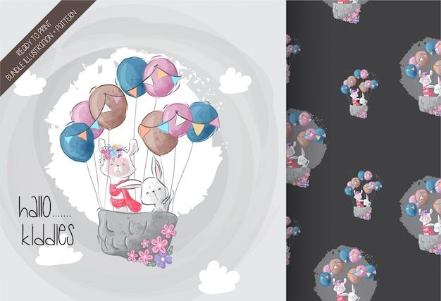 Lindo conejito, llamas con globo de aire lindo animal de patrones sin fisuras
