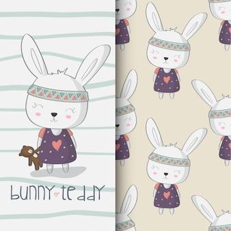 Lindo conejito y oso de peluche dibujado a mano ilustración
