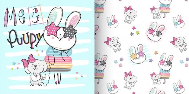 Lindo conejito patrón conjunto, mano dibujar ilustración-vector