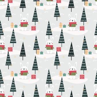 Lindo conejito en patrones sin fisuras del tema de navidad
