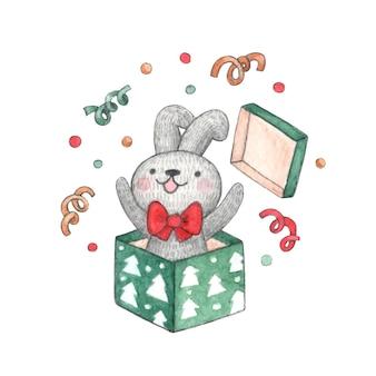 Lindo conejito de personaje de acuarela con lazo rojo salta de caja de regalo de navidad