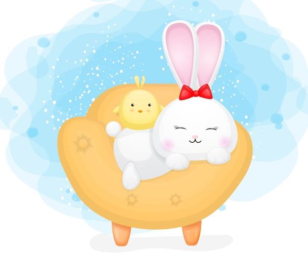 Lindo conejito y pollitos en el sofá. ilustración de dibujos animados vector premium