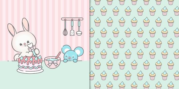Lindo conejito y ratón kawaii decorando un pastel de cumpleaños con cupcakes de patrones sin fisuras