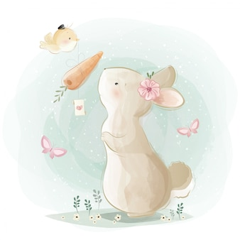 Lindo conejito recibiendo un regalo de zanahoria