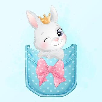 Lindo conejito sentado dentro de la ilustración de bolsillo