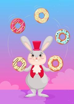Lindo conejito con sombrero de copa rojo haciendo malabares con coloridos donuts ilustración