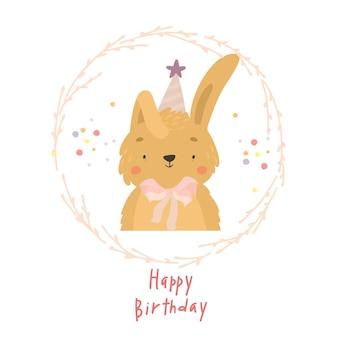 Lindo conejito tarjeta de feliz cumpleaños