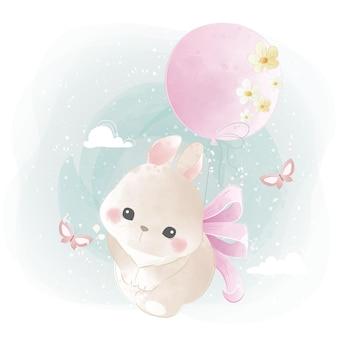 Lindo conejito volando con un globo florido
