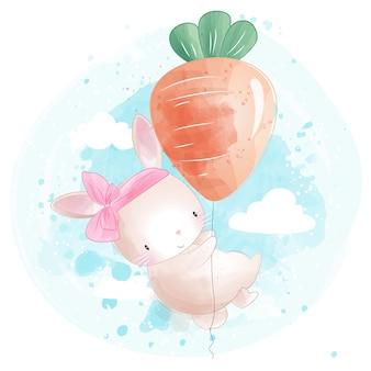 Lindo conejito volando con globo en forma de zanahoria