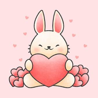 Lindo conejo abrazando corazón dibujos animados estilo dibujado a mano