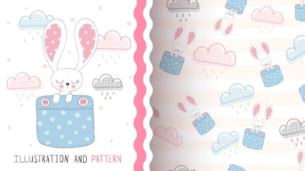 Lindo conejo de amor - patrón sin costuras