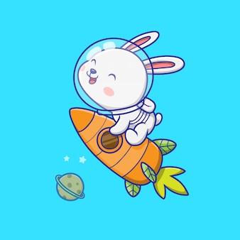 Lindo conejo astronauta montando cohete ilustración