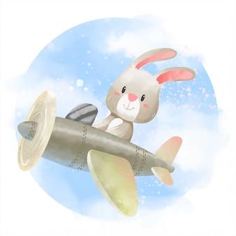 Lindo conejo con el avión