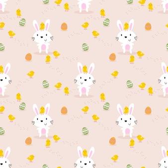 Lindo conejo blanco, pollito y huevos de pascua de patrones sin fisuras.