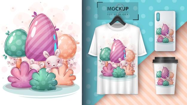 Lindo conejo en el cartel de bush y merchandising.
