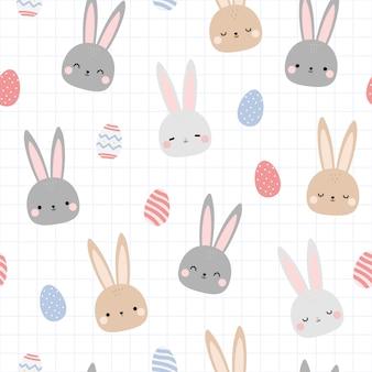Lindo conejo conejito huevo de pascua dibujos animados doodle de patrones sin fisuras