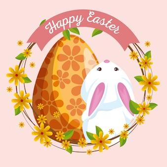 Lindo conejo con decoración de huevo y flores.