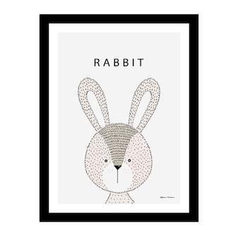 Lindo conejo dentro de un marco negro