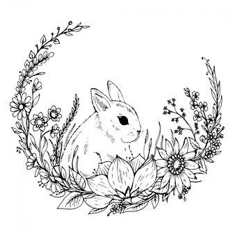 Lindo conejo dibujado a mano con corona de flores y hojas