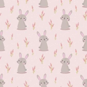 Lindo conejo y dulce flor de patrones sin fisuras