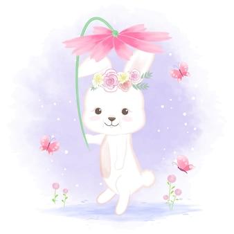Lindo conejo con flor dibujado a mano ilustración animal