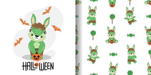 Lindo conejo de halloween conejito dibujos animados doodle ilustración de patrón inconsútil