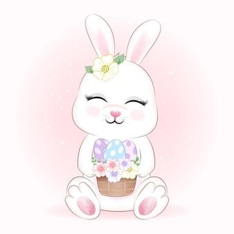 Lindo conejo y huevos en canasta ilustración animal