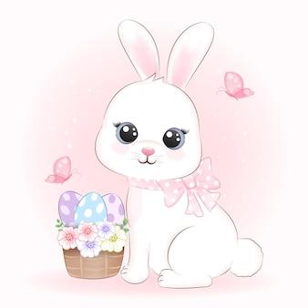 Lindo conejo y huevos en la ilustración de la cesta