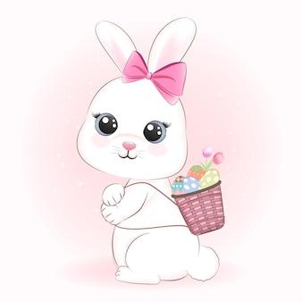 Lindo conejo y huevos de pascua en canasta, concepto de día de pascua